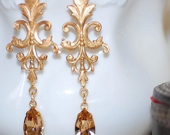 FREE SHIPPING Vintage Topaz Jeweled Gold  Filigree Earrings  Evenings Weddings Bridal Classic