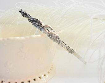 FREE SHIPPING Hairband Swan Silver Headband Hair Bird Brides Bridesmaids romantic bridal weddings girly retro old hollywood