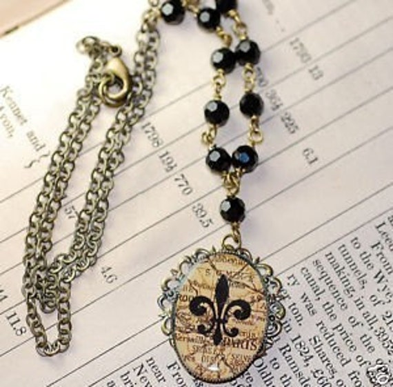 FREE SHIPPING Map Paris Fleur de lis  Vintage Jet Crystals Necklace Filigree Brass French