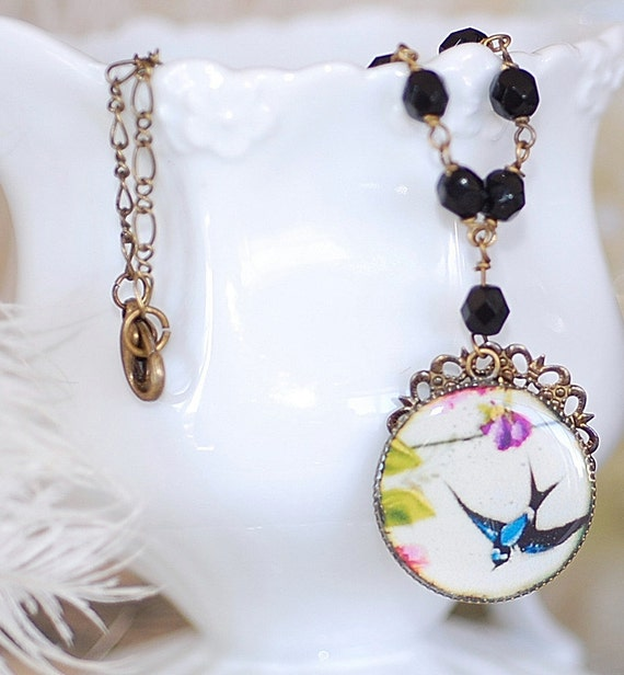 FREE SHIPPING Necklace Cameo Blue Sparrow Bird Swallow flowers Handmade Necklace beaded shabby chic Onyx Beaded Chain Bronze Filigree