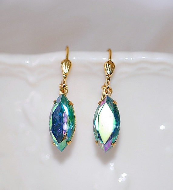 FREE SHIPPING Earrings Estate Green  AB  Navette Vintage diamond crystal glass stones elegant old hollywood