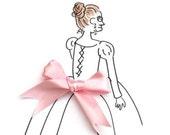 Baby pink satin ribbon - 2.5cm wide