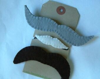 Felt Moustaches - Dressing up - Party Favours - Mustache - Movember - Wool Felt