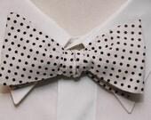 Black on White Polka Dot  Bow Tie
