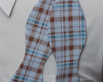 Blues and Brown Plaid  Bow Tie