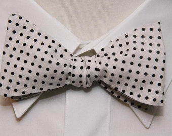Black on White Polka Dot  Bow Tie
