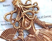 Steampunk Necklace SQUID GIRL Victorian Sideshow Dark Circus Freak - Brass Gold Metal - Octopus Headed Woman - Cosmic Firefly ORIGINAL DESIGN