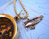 Steampunk Necklace Brass Compass and Tiny Biplane Charm Necklace - Long 30 Inch Chain