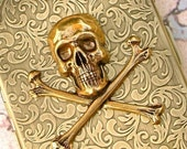 Steampunk Cigarette Case Large SKULL and CROSSBONES Metal Wallet / Business Card Holder / Credit Card Case - Slim Antiqued Gold Brass Vintage Style Finish - The Ultimate PIRATE Accessory
