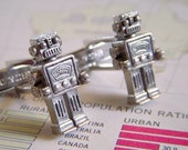 Robot CUFFLINKS Silver Plated Metal Miniatures - Science Fiction Steampunk Cuff Links - Cosmic Firefly ORIGINAL DESIGN