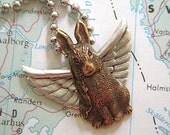 Necklace Flying Bunny Rabbit Gothic Victorian Popular Winged Animal Jewelry Vintage Style Mixed Metals Silver & Brass Steampunk Bunny Rustic