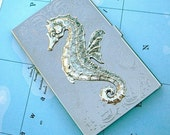 Seahorse Business Card Holder Gothic Victorian - Silver Plated Metal - Thin Vintage Style Design - Exclusive Original Design from Cosmic Firefly