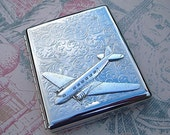 Steampunk Cigarette Case Air Plane Silver / Business Card Case / Metal Wallet with PROPELLER Airplane - Large Double Size Inside Chrome Silver Plated Metal - Exclusive Original Design from Cosmic Firefly