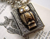 Silver Locket Necklace Hoot Owl Book - Swarovski Crystal Eyes - Silver Plated Chain Included FREE
