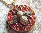 Bee Locket Necklace Gothic Round Red and Gold - Shhhhhh Secret Compartment Inside