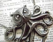 Owlctopus Steampunk Necklace Half OWL / Half OCTOPUS Weird Odd Gothic Victorian Sea Creature Antiqued Silver Exclusive Original New Design By Cosmic Firefly Las Vegas