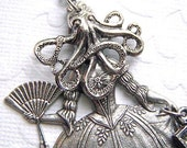 Steampunk Necklace Octopus Girl Gothic Victorian Antiqued Silver Original Vintage Inspired Assemblage Jewelry Design By Cosmic Firefly