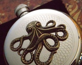 Round Octopus Flask Vintage Inspired Style Pirate Flask Steampunk Accessories Rustic Brass Octopi Stainless Steel Silver Plated Pocket Flask