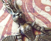 Steampunk Necklace Rabbit Girl Rabbit Necklace Gothic Victorian Carnival Sideshow Dark Circus Freak Girl Rustic Brass Art Jewelry