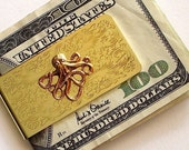 Octopus Money Clip Gold Tone Classic Slim Vintage Inspired Gothic Victorian Nautical Steampunk Men's Accessories As Featured On TheAwesomer