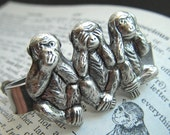 Men's Tie Clip Silver Monkeys Tie Bar Silver Tie Bar Gothic Victorian Speak See Hear No Evil Original Men's Steampunk Style Gifts
