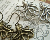 Octopus Earrings Set Of 2 Silver & Brass Gothic Victorian Steampunk Jewelry Save Special Price Each Pair Individually Gift Boxed 2 Sets