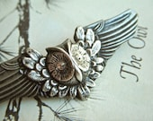Gothic Owl Pin Brooch Rustic Gothc Victorian Steampunk With Swarovski Crystal Eyes Silver & Pewter Mixed Metals