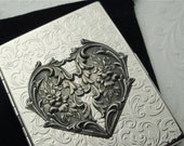 Steampunk Cigarette Case Gothic Victorian Heart Case Art Nouveau New Antiqued Silver Heart Vintage Inspired Metal Case Women's Gifts For Her