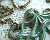 Big Octopus Necklace Rustic Painted Green Color Rustic Primitive Antiqued Brass Stamped Metal Long Rolo Chain