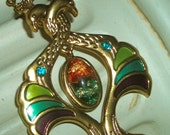 ART NOUVEAU PEACOCK PENDANT NECKLACE - Bright Brass on 24 Inch Gold Chain - FREE GIFT BOX INCLUDED