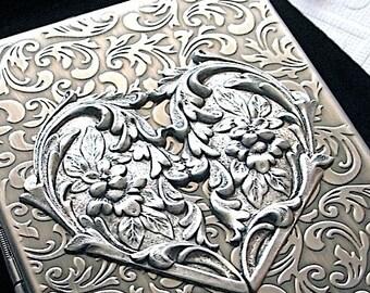 Steampunk Heart Cigarette Case Gothic Victorian Card Holder Art Nouveau Floral Design Rustic Antiqued Silver Tone Finish