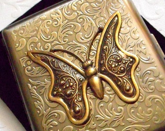 Cigarette Case Big Butterfly Moth Winged Insect Vintage Inspired Rustic Brass Art Nouveau Steampunk Style Antique Design Large Double Size