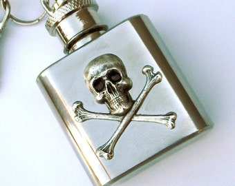 Flask Keychain Skull & Crossbones Mini Small Size Silver Plated 1 Ounce