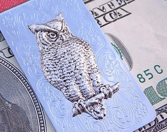 Owl Money Clip Silver Plated Men's Accessories & Gifts Gothic Victorian Scroll Pattern Vintage Inspired Popular Retro Design Wise Owl
