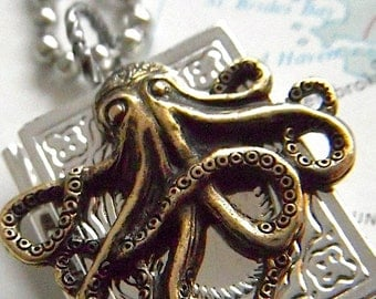 Octopus Locket Necklace Steampunk Necklace Silver Plated Book Locket Octopus Necklace Gothic Victorian Sealife Handcrafted Necklace New
