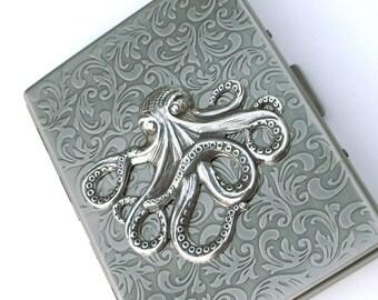 Silver Octopus Cigarette Case Slim Big Victorian Nautical Vintage Inspired Oversized Card Case Steampunk Accessories