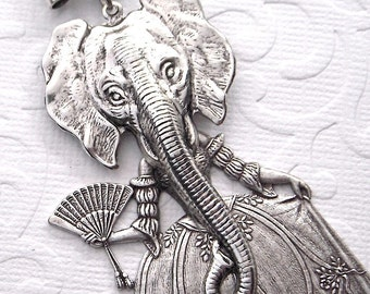 Elephant Necklace Gothic Victorian Sideshow Carnival Freak Girls Dark Circus Elephant Girl Original Design by Cosmic Firefly