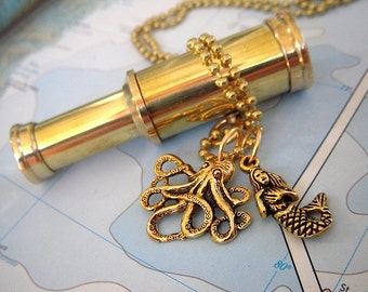 Brass Spyglass Necklace Steampunk Necklace Octopus Necklace Mermaid Nautical Jewelry Working Spy Glass Telescope Rustic Antiqued Finish