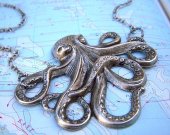 Silver Octopus Necklace Large Size Silver Plated Vintage Reproduction Steampunk Necklace Made In USA Nautical Sea Life Vacation Jewelry NEW