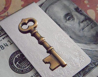Money Clip Gothic Victorian Steampunk Antiqued Brass Skeleton Key Silver Plated Mixed Metals Men's Accessories Vintage Inspired Style