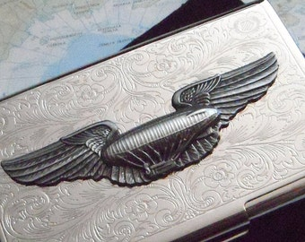 Steampunk Business Card Case Blimp Flying Wings Dirigible Slim Silver Plated Metal Gothic Victorian Air Ship
