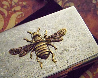 Fancy Business Card Case Bee Case Brass Bee Silver Plated Vintage Style Steampunk Case Gothic Victorian Scroll Pattern Metal Card Holder