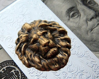 Lion Money Clip Gothic Victorian Classic Vintage Inspired Style Men's Accessories & Gifts Brass / Silver