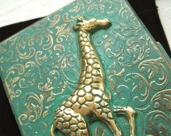 Cigarette Case Giraffe Case Green Verdigris Finish Rustic Vintage Inspired Victorian Steampunk Case From Cosmic Firefly Las Vegas