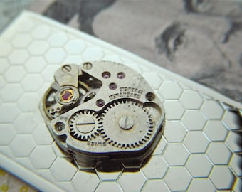 Steampunk Money Clip Bee Honeycomb Hexagons Pattern Industrial Silver Plated Art Deco With Vintage Antique Watch Movement Metal Wallet