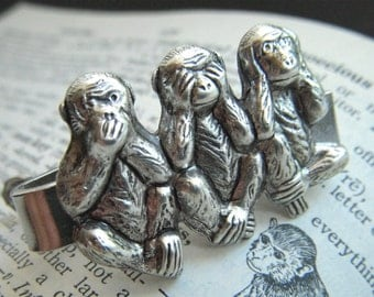 Men's Tie Clip Silver Monkeys Tie Bar Silver Tie Bar Gothic Victorian Steampunk Speak See Hear No Evil Original Men's Steampunk Style Gifts