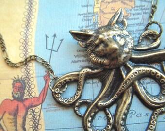 Foxtopus Necklace Half Fox / Half Octopus Fox Necklace Octopus Necklace Steampunk Necklace Art Jewelry