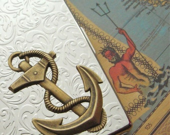 Anchor Cigarette Case Nautical Steampunk Big Card Holder or Slim Metal Wallet Mixed Metals Shiny Chrome Silver Plated & Antiqued Brass