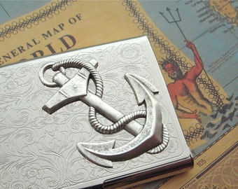 Business Card Case Nautical Anchor Card Case Silver Card Case Popular Vintage Inspired Style Metal Card Holder Gothic Victorian Steampunk