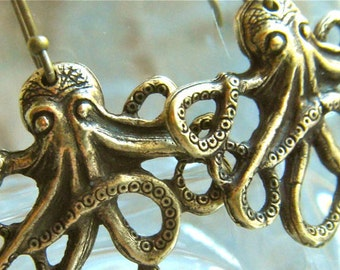 Octopus Earrings Primitive Rustic Antiqued Brass Popular Jewelry Nautical Steampunk Vintage Style Pierced Earrings